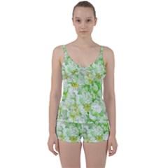 Light Floral Collage  Tie Front Two Piece Tankini