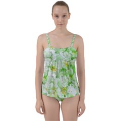 Light Floral Collage  Twist Front Tankini Set