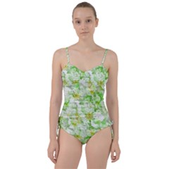 Light Floral Collage  Sweetheart Tankini Set