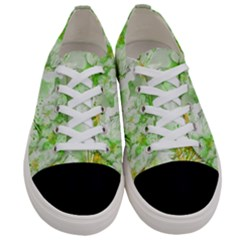 Light Floral Collage  Women s Low Top Canvas Sneakers