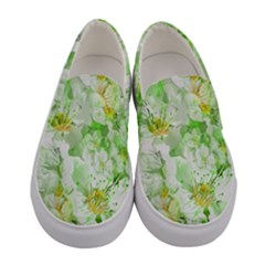 Light Floral Collage  Women s Canvas Slip Ons