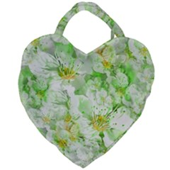 Light Floral Collage  Giant Heart Shaped Tote