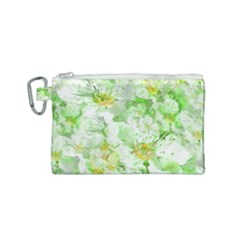 Light Floral Collage  Canvas Cosmetic Bag (small)