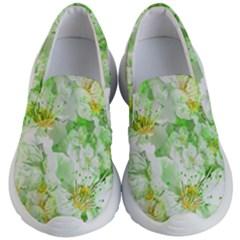 Light Floral Collage  Kid s Lightweight Slip Ons