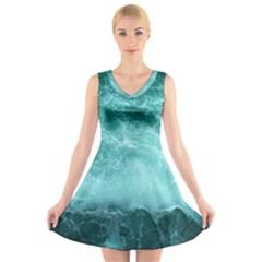 Green Ocean Splash V Neck Sleeveless Skater Dress