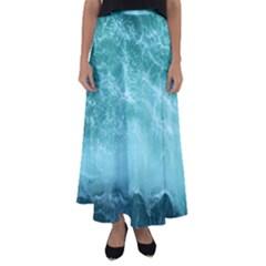 Green Ocean Splash Flared Maxi Skirt