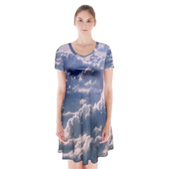 In The Clouds Short Sleeve V Neck Flare Dress