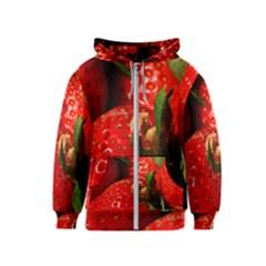 Red Strawberries Kids  Zipper Hoodie