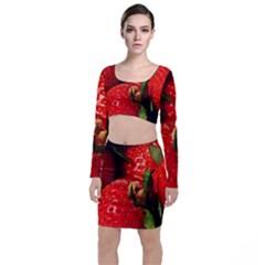 Red Strawberries Long Sleeve Crop Top & Bodycon Skirt Set
