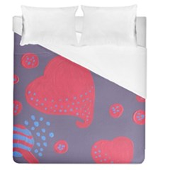 Lollipop Attacked By Hearts Duvet Cover (queen Size)