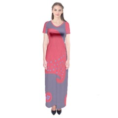 Lollipop Attacked By Hearts Short Sleeve Maxi Dress