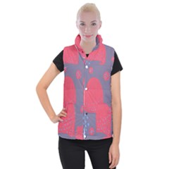 Lollipop Attacked By Hearts Women s Button Up Puffer Vest