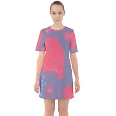 Lollipop Attacked By Hearts Sixties Short Sleeve Mini Dress