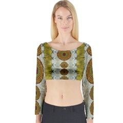 Spring In Mind And Flowers In Soul Be Happy Long Sleeve Crop Top