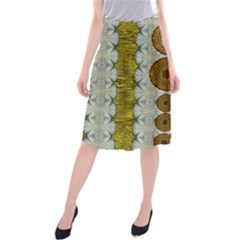 Spring In Mind And Flowers In Soul Be Happy Midi Beach Skirt