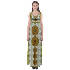 Spring In Mind And Flowers In Soul Be Happy Empire Waist Maxi Dress