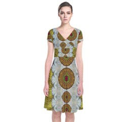 Spring In Mind And Flowers In Soul Be Happy Short Sleeve Front Wrap Dress
