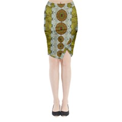 Spring In Mind And Flowers In Soul Be Happy Midi Wrap Pencil Skirt