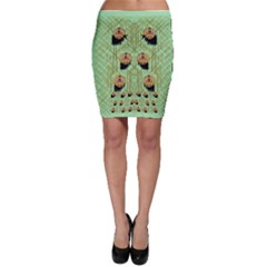 Lady Panda With Hat And Bat In The Sunshine Bodycon Skirt