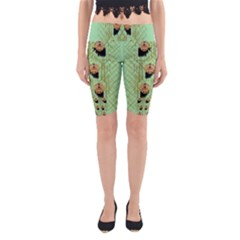 Lady Panda With Hat And Bat In The Sunshine Yoga Cropped Leggings