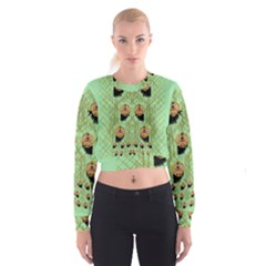 Lady Panda With Hat And Bat In The Sunshine Cropped Sweatshirt