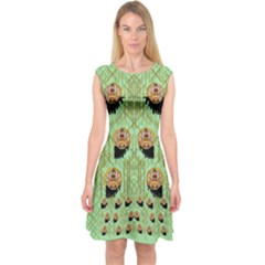 Lady Panda With Hat And Bat In The Sunshine Capsleeve Midi Dress