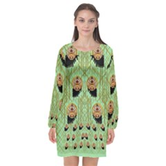 Lady Panda With Hat And Bat In The Sunshine Long Sleeve Chiffon Shift Dress