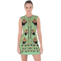 Lady Panda With Hat And Bat In The Sunshine Lace Up Front Bodycon Dress