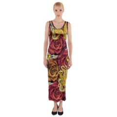 Octopus Floral Fitted Maxi Dress