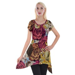 Octopus Floral Short Sleeve Side Drop Tunic