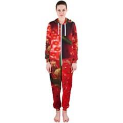 Red Strawberries Hooded Jumpsuit (ladies)