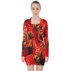 Red Strawberries V Neck Bodycon Long Sleeve Dress