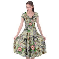 Angel Floral Cap Sleeve Wrap Front Dress