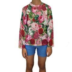 Rose Bushes Kids  Long Sleeve Swimwear