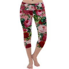 Rose Bushes Capri Yoga Leggings