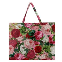 Rose Bushes Zipper Large Tote Bag