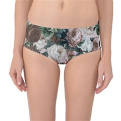 Rose Bushes Brown Mid Waist Bikini Bottoms