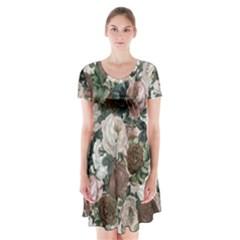 Rose Bushes Brown Short Sleeve V Neck Flare Dress