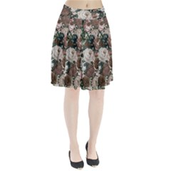 Rose Bushes Brown Pleated Skirt
