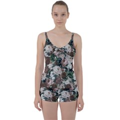 Rose Bushes Brown Tie Front Two Piece Tankini