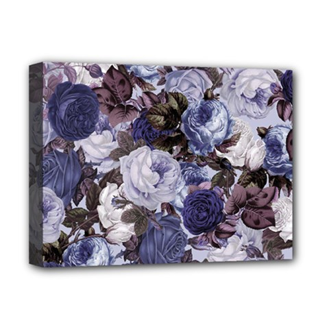 Rose Bushes Blue Deluxe Canvas 16  X 12