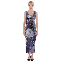 Rose Bushes Blue Fitted Maxi Dress