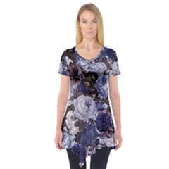 Rose Bushes Blue Short Sleeve Tunic