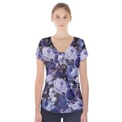 Rose Bushes Blue Short Sleeve Front Detail Top
