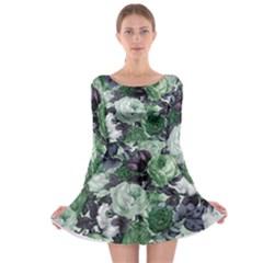 Rose Bushes Green Long Sleeve Skater Dress