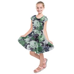 Rose Bushes Green Kids  Short Sleeve Dress