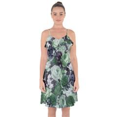Rose Bushes Green Ruffle Detail Chiffon Dress