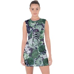 Rose Bushes Green Lace Up Front Bodycon Dress