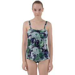 Rose Bushes Green Twist Front Tankini Set