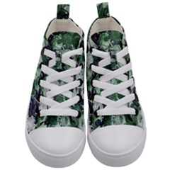 Rose Bushes Green Kid s Mid Top Canvas Sneakers